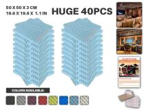 """Acepunch 40 Pack BABY BLUE Egg Crate Convoluted Acoustic Foam Panel DIY Design Studio Soundproofing Wall Tiles Sound Insulation 19.6"""" x 19.6"""" x 1.2"""" AP1052"""