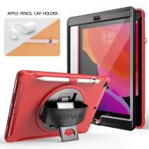 BATYUE iPad 10.2 2019 Case with Screen Protector, Heavy Duty Shockproof Childproof Rugged Case w/360° Rotating Stand/Handle Grip Strap/Pencil Holder/Pencil Cap Holder for iPad 7th Generation Case(Red)