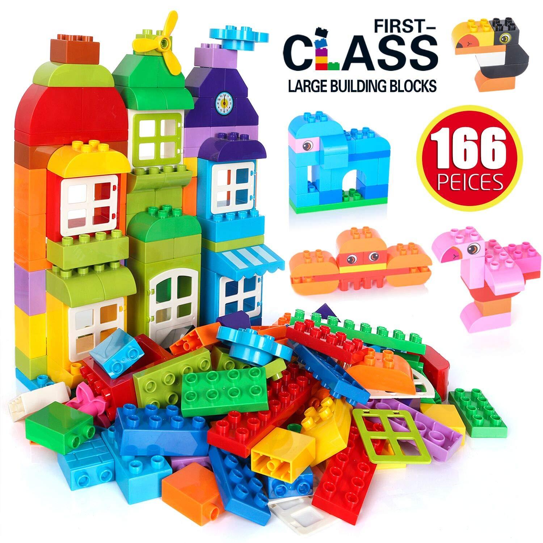 Large Building Blocks, 166 Pcs Kids Building Bricks Set, Educational DIY Classic Toy Bricks, Compatible Blocks Construction Toys, STEM Gift Colorful Toys Building Kit for Kids Toddlers Boys Girls
