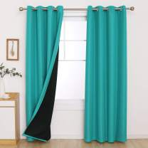 Deconovo Linen Curtains Grommet Room Darkening Double Layer Blackout Curtains 84 Inches Long for Bedroom and Theaters Room 52x84 Inch Turquoise Set of 2 Panels