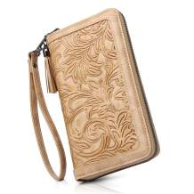 MEITRUE Womens Wallet Large Capacity RFID Blocking PU Leather Wristlet Clutch Embossed Long Cellphone Purse Card Holder 684