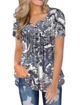 FOLUNSI Women's Plus Size Tunic Tops Casual Floral Blouses Long Sleeve V Neck Henley Shirts M-4XL