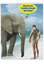 Big Happy Birthday Card 'Breathe Through That Thing' - Hilarious Joke with Envelope Extra Large Size 8.5 x 11 Inch - XL Gift and Funny Greetings Card Featuring Elephant on Beach - Adult Humor J9982