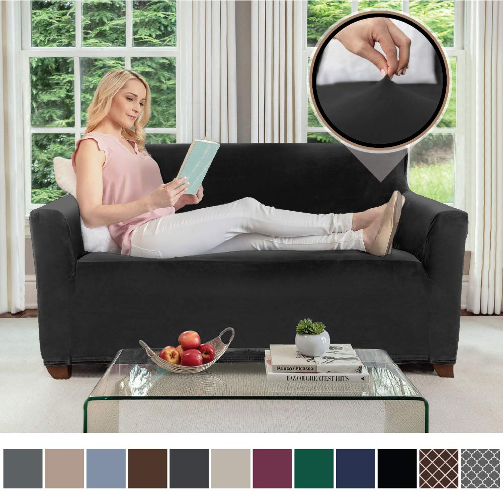 Gorilla Grip Original Velvet Fitted 1 Piece Loveseat Slipcover, Stretch Up to 54 Inches, Soft Velvety Covers, Luxurious Couch Slip Cover, Spandex Loveseats Furniture Protector, with Fasteners, Black