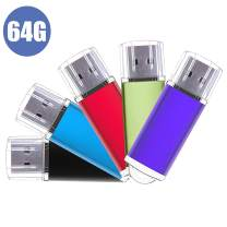 USB Flash Drive,5 Pack Pen Thumb Drives Jump Drive Memory External Storage Stick with Keychain Design & Led Indicator (5 Mixed Color) (64G-Light)…