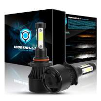IRONWALLS F-X7 Series 2PCS 9005/9145/ H10/ HB3 LED Headlight Bulbs All-in-One Conversion Kit Fog Lights 4 sides 72W 8000LM 6500K Super Bright White COB Chips