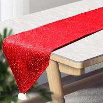 Outkitkit Sequin Christmas Table Runner, Knitted with Sequin & Non-Woven Fabric, Reversible Table Decoration for Christmas and Theme Party, 14x90-Inch