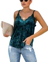 lime flare Women Sexy V Neck Crushed Cami Tank Tops Adjustable Spaghetti Strap Loose Satin T Shirt Camisole (X-Large(US 16-18),C#Emerald Green Velvet Lace Trim)
