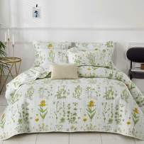 Joyreap 3 Pieces Reversible Quilt Set, Smooth Soft Microfiber Quilt, Yellow Flowers Green Leaves on White Pattern, Bedspread Bed Cover for All Season, 1 Quilt n 2 Pillow Shams (Botanical, King)
