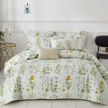 Joyreap 3 Pieces Reversible Quilt Set, Smooth Soft Microfiber Quilt, Yellow Flowers Green Leaves on White, Bedspread Bed Cover for All Season, 1 Quilt n 2 Pillow Shams (Botanical, Full/Queen)