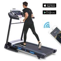 ANCHEER Folding Treadmill with APP Control, 3.25HP Automatic Incline Treadmill, Portable Under Desk Treadmill Walking Running Machine with Audio Speakers