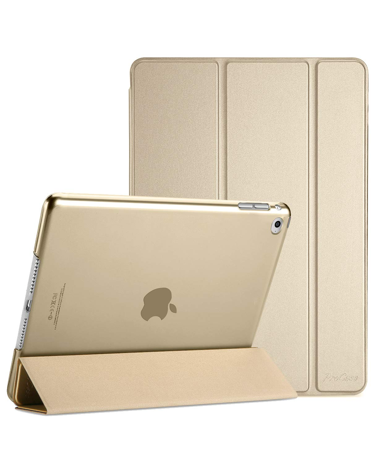 Procase iPad Mini 4 Case - Ultra Slim Lightweight Stand Case with Translucent Frosted Back Smart Cover for 2015 Apple iPad Mini 4 (4th Generation iPad Mini, mini4) –Gold
