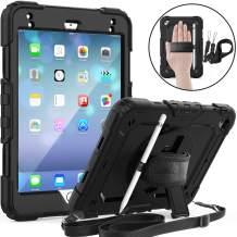 iPad Mini 5 Case, iPad Mini 4 Case, SEYMAC Full Body Protection Case with Screen Protector Pencil Holder [360 Rotating Hand Strap & Stand] Shoulder Strap for iPad Mini 4/5 7.9 Inch-Black