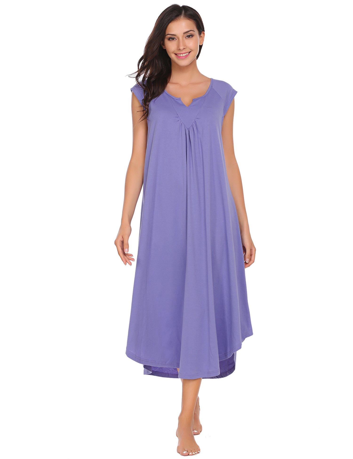Ekouaer Nightgowns for Women Plus Size Long Loungewear Short Sleeve V Neck Sleepwear Night Dress Summer Lounge Nightwear