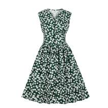 Nicetage Women V-Neck Button Vintage Dress 1940s 1950s Swing Dress Sleeveless Cocktail Dress Tea Dress