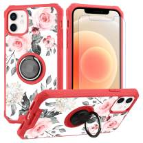 """iPhone 12 Pro Max Case Rose Floral Grey Leaves Design with Ring Holder Kickstand Screen Protector (Work with Magnetic Car Mount) Women Girls Protective Flower Cover for iPhone 12 Pro Max 6.7""""-Blue"""
