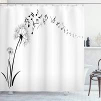 """Ambesonne Music Shower Curtain, Flying Dandelions with Notes Music Summer Spring Meadow Silhouette Softness Simple, Cloth Fabric Bathroom Decor Set with Hooks, 75"""" Long, Black and White"""
