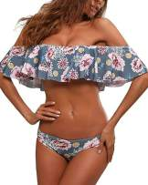 Tempt Me Women Off-Shoulder Two Piece Bikini Set Ruffled Floral Print Swimsuit