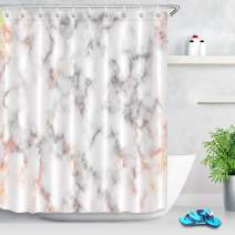 LB Pink Marble Shower Curtain Set,Fashion Pixelate Mineral Ink Texture with Rose Gold Shiny Lines Luxury Trendy Bathroom Curtain for Girls Party Backdrop 72x72 Inch Polyester Fabric with 12 Hooks