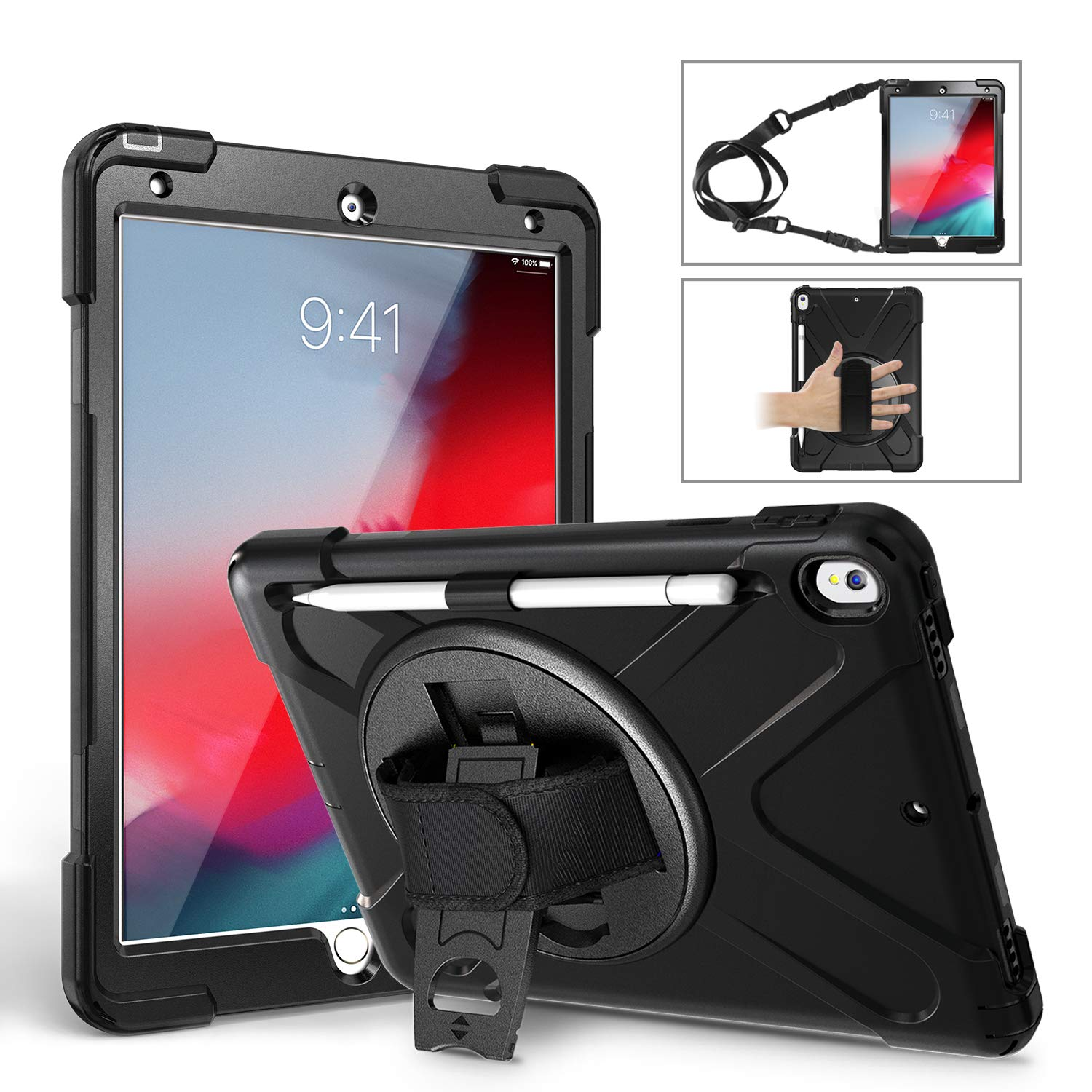 iPad Pro 10.5 Case 2017/iPad Air 3 Case 2019 with Screen Protector,TSQ Heavy Duty Shockproof Durable Hard Rugged Protective Case with Pencil Holder/Hand Strap/Stand/Shoulder Strap for iPad 10.5,Black