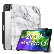 """Fintie Case with Pencil Holder for iPad Pro 11"""" 2020 & 2018 [Supports 2nd Gen Pencil Charging] - Slim Transparent Clear Hard Back Cover with Soft TPU Edge, Auto Wake/Sleep, Marble White"""