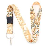 Buttonsmith Morris Flora Premium Lanyard - with Buckle and Flat Ring - Made in The USA