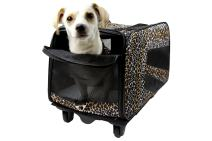 dbest products Pet Smart Cart, Large, Leopard, Rolling Carrier with Wheels Soft Sided Collapsible Folding Travel Bag, Dog Cat Airline Approved Tote Luggage Backpack