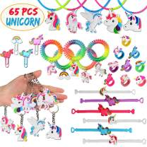 Aitey Unicorn Party Favors Supplies, Unicorn Rainbow Birthday Christmas Decoration Assorted Kit, Unicorn Bracelets, Keychains Bulk Toys for Kids and Girls (65 Packs)