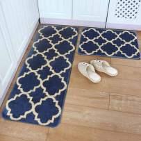 """HEBE Kitchen Rug Set of 2 Pieces Non Slip Machine Washable Kitchen Rugs and Mats Set Kitchen Mat Rug Runner Set Indoor Outdoor Entry Rug Floor Carpet, Dark Blue(18""""x47""""+18""""x30"""")"""