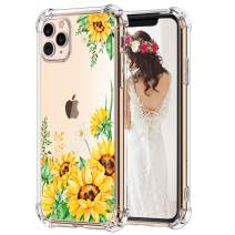 Hepix Sunflowers iPhone 11 Pro Max Cases Vivid Yellow Flowers 11 Pro Max Cases, Clear Flexible TPU Protective Phone Cover with 4 Cushion Corners Shock Absorbing Anti-Scratch Raised Bezel Protetction