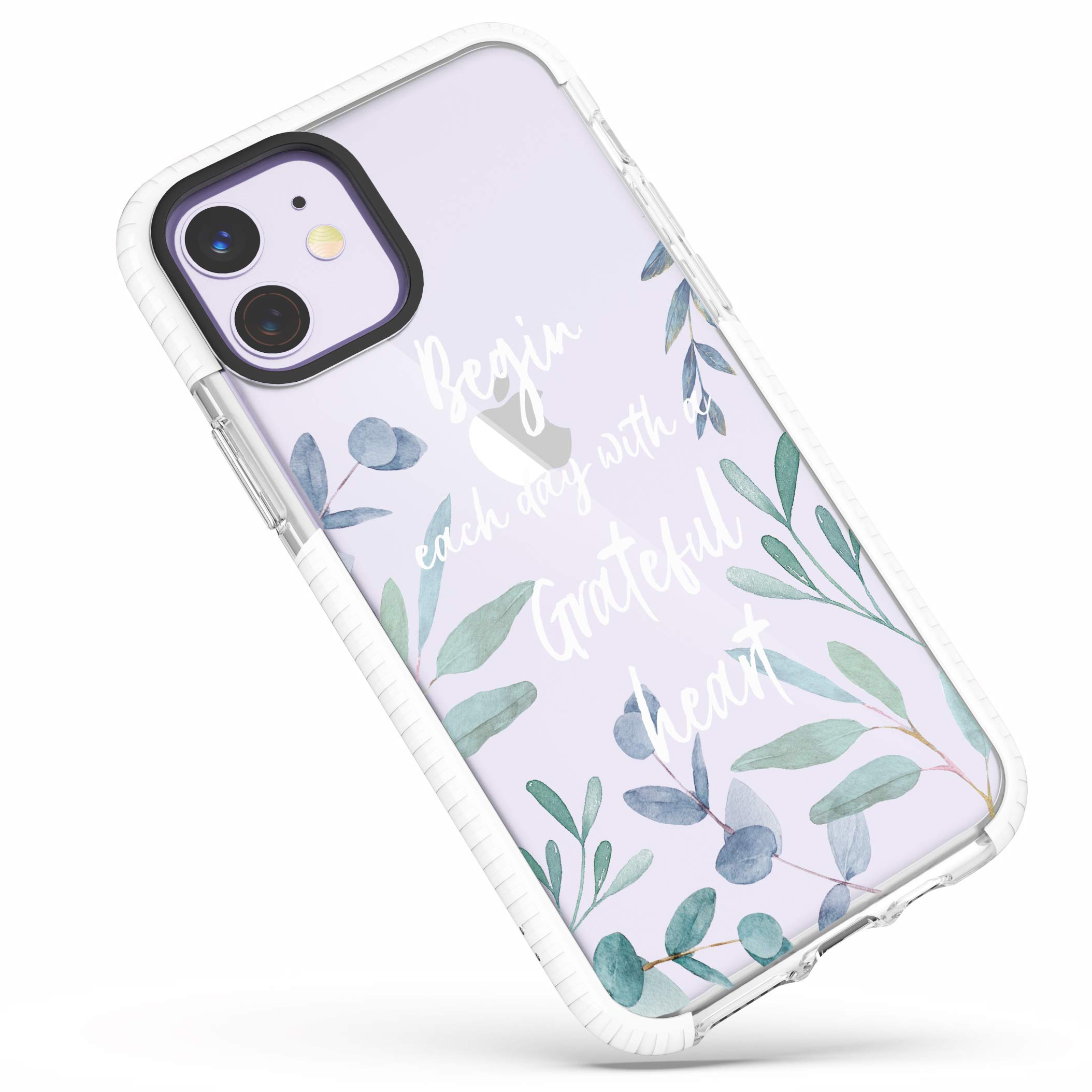 iPhone 11 Case,Cute Flowers Florals Green Leaves Spring Blossoms Christian Inspirational Bible Verses Christ Quotes Girls Women Soft Protective Clear Case with Design Case Compatible for iPhone 11