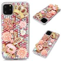 iPhone 11 Pro Max Case - Mavis's Diary 3D Handmade Luxury Bling Pink Pumpkin Carriage and Rose Flower Golden Floral Crown Shiny Diamonds Glitter Rhinestones Gems Clear Hard PC Cover