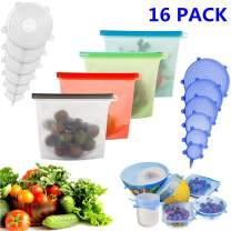 KONGDY Silicone Food Storage Bags 4 Pack Silicone Stretch Lids 12 Pack Reusable Eco-Friendly Airtight Seal Food Storage Container Various Sizes Silicone Storage Covers Expandable Food Covers (16 Pack)