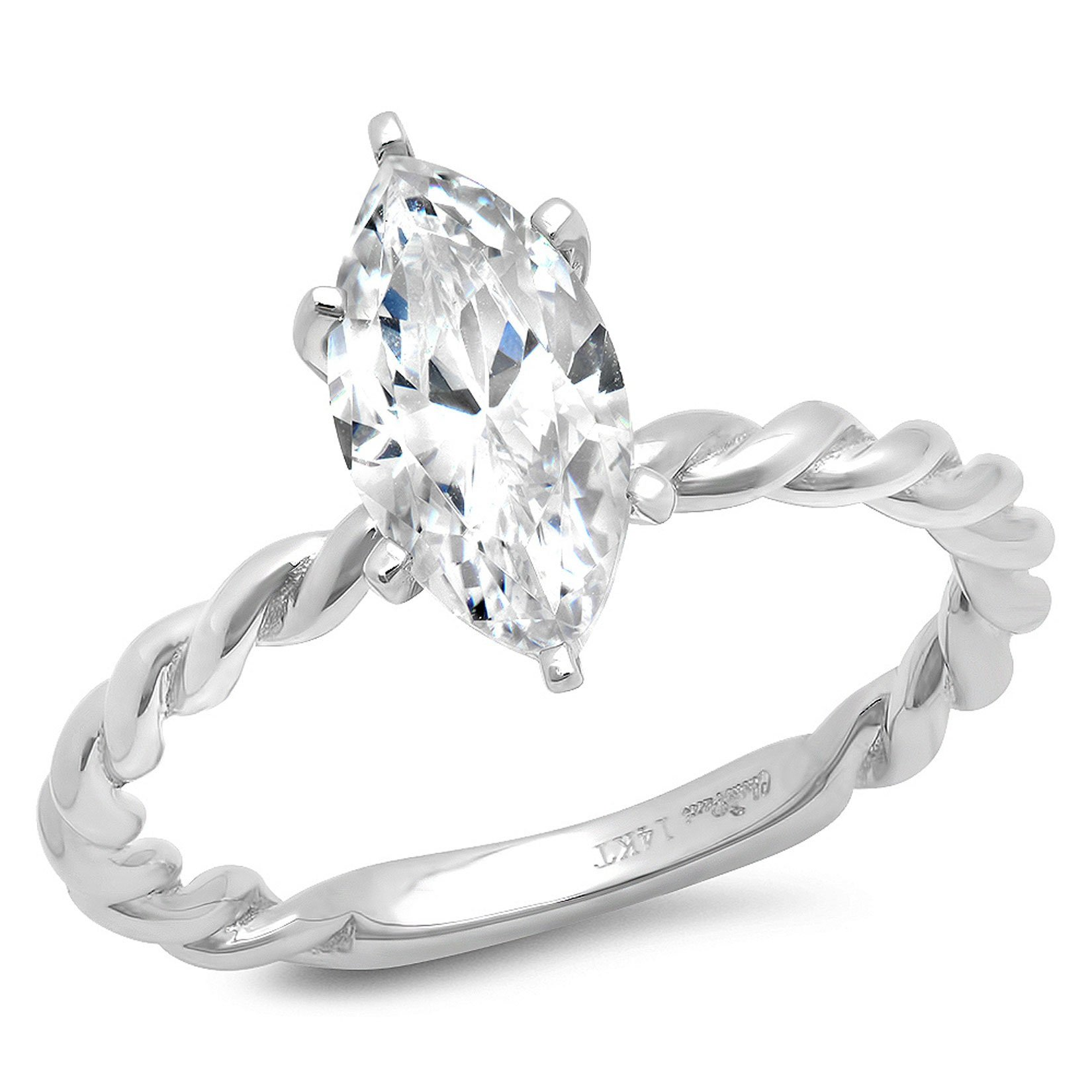 1.95ct Brilliant Marquise Cut Solitaire Rope Twisted Knot Highest Quality Moissanite Ideal D 6-Prong Statement Ring in Solid Real 14k White Gold for Women