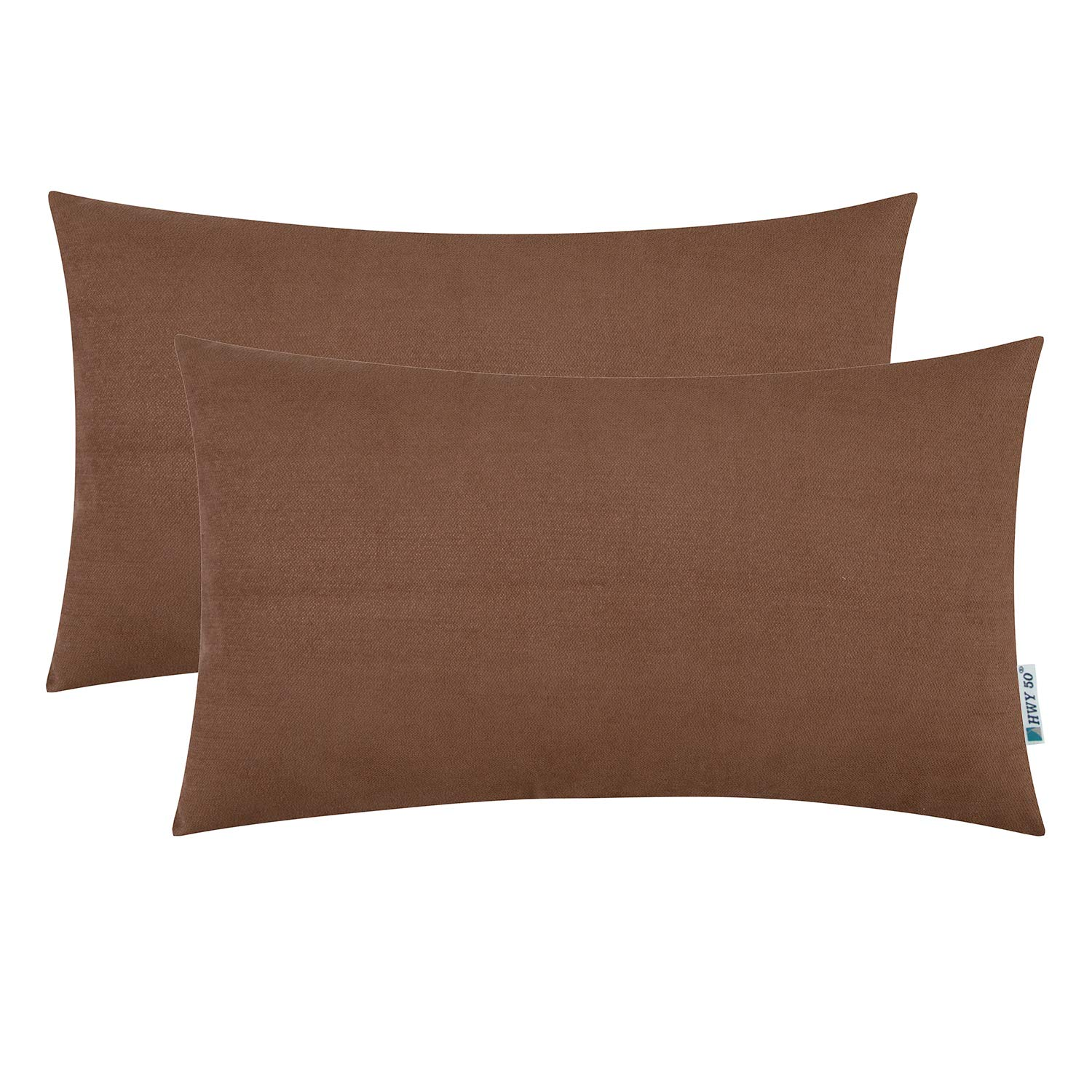 HWY 50 Coffee Soft Cozy Rectangle Decorative Throw Pillows Covers Set Cushion Cases for Couch Bed Bedroom 12 x 20 inch Chenille Pack of 2