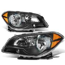 Pair of Black Housing Amber Corner Headlight Assembly Lamps Replacement for Chevy Malibu Sedan 7th Gen 08-12