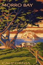 Morro Bay, California, Town View with Morro Rock (12x18 Art Print, Wall Decor Travel Poster)