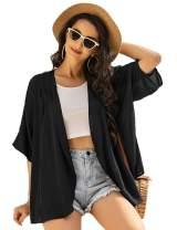 Ekouaer Women Lightweight Chiffon Cover Up Sheer Kimono Short Sleeve Cardigan Beach Cover Up