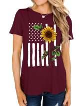 WLLW Womens Sunflower Shirts Tee American Flag Shirt Short Sleeve Summer Tops Shirt