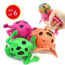 EUYZOU Anti Stress Squishy Multicolored Hand Exercise DNA Ball, Slime Prime Toys for Kids, Animal Stress Ball, ADHD Fidget Toys, The Shape of Frog Set of 6