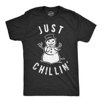 Mens Just Chillin Snowman T Shirt Hilarious Saying Funny Christmas Novelty Guys