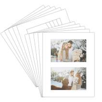 """8x10 White Mat for (2) 4x6"""" Pictures - Pack of 10 - White Core Bevel Cut Acid-Free Matboards for Artworks, Prints, Photographs - Great for Weddings, Engagements, Graduations - Signature Friendly"""