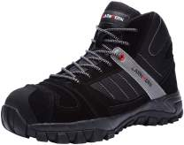 LARNMERN Mens Work Boots,LM-1702 S3 SRC Steel Toe Safety Shoes Non Slip Lightweight Reflective Work Boot