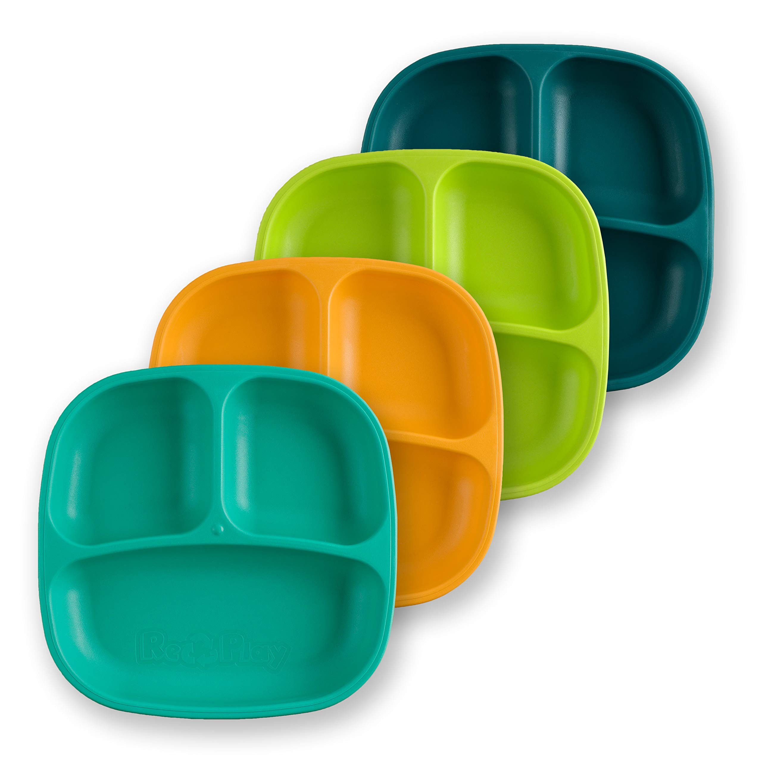 Re-Play Made in USA 4pk Divided Deep Walled Plates in Teal, Lime Green, Sunny Yellow and Aqua | Made from Eco Friendly Heavyweight Recycled Milk Jugs - Virtually Indestructible (Aqua Asst+)
