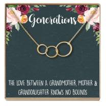 Dear Ava Generations Gift Necklace for Grandmother, Mom & Granddaughter, 3 Asymmetrical Circles