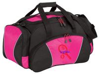 Personalized Tennis Gym Duffel Bag with Custom Text | Metro Travel Bag Design with Customizable Embroidered Monogram (Tropical Pink)