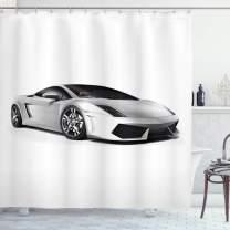 "Lunarable Cars Shower Curtain, Sports Car with Futuristic Inspired Wheels Reflection Design Print, Cloth Fabric Bathroom Decor Set with Hooks, 70"" Long, Grey Black"