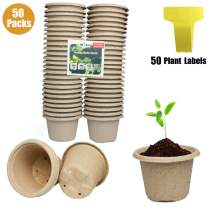 """4.33"""" Seed Starter Pots,Jayzod 50 Pack Round Recycled 100% Biodegradable Plant Pots with 50 Pcs Plant Labels,Biodegradable Peat Pots for Garden,Seedlings,Flowers,Vegetables,Saplings,Herb …"""