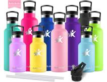 KollyKolla Stainless Steel Vacuum Insulated Water Bottle with Straw - 12/17/20/25/32 oz BPA Free Metal Reusable Water Bottle, Doubled Walled Keeps Hot & Cold Leak Proof Drinks Bottle Kids Thermoflask