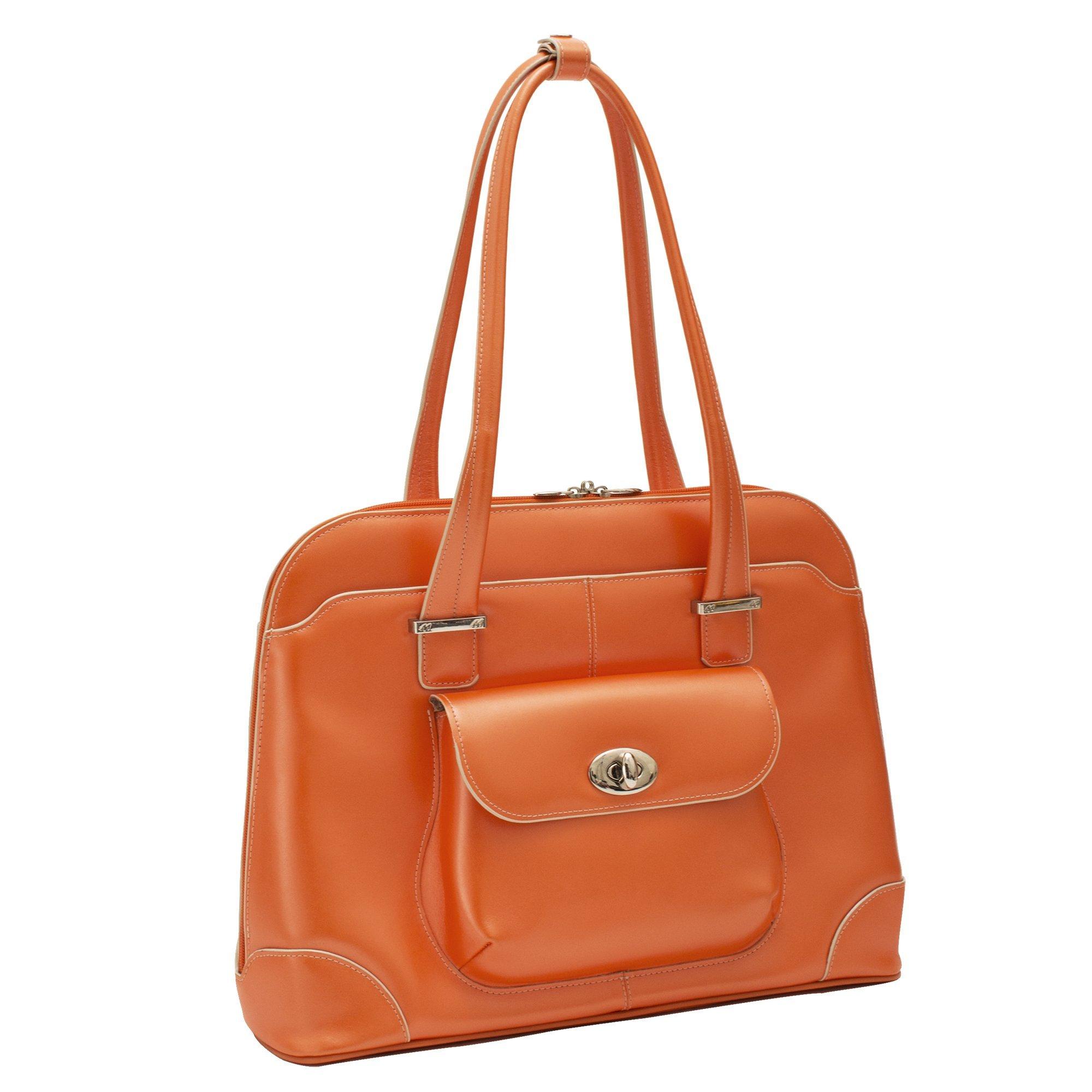 """McKlein, W Series, Avon, Top Grain Cowhide Leather, 15"""" Leather Ladies' Laptop Briefcase, Orange (96650)"""